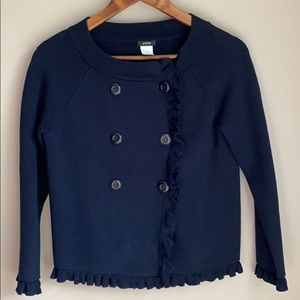 J. Crew Double Breasted Ruffle Sweater Navy S